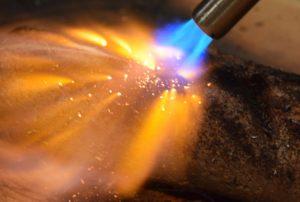 sous vide searing sous-vide sear steak torch flame burn it